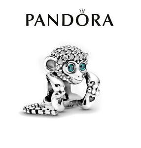 Genuine Silver Pandora S925 ALE Pave Monkey Charm + Pouch
