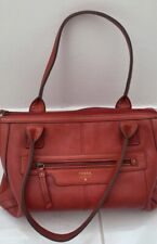 fossil red leather handbag