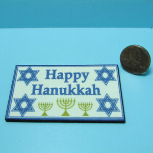 Dollhouse Miniature Welcome Mat Happy Hanukkah with Menorah HW475AD