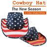 Women Men Straw Western Sombrero Cowboy Hats Cowgirl Caps American Flag 58CM