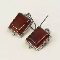 Vintage Sterling Silver Handmade Earrings, 925 Silver Dangles W/ Carnelian Inlay