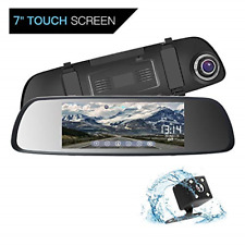ILIHOME Mirror Dash Cam, 7 inch Touch Screen 1080P Dual Lens Dash Cam with 6G