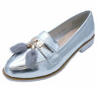 LADIES SILVER SLIP-ON TASSLE LOAFERS SMART CASUAL WORK PATENT COMFY SHOES UK 3-8