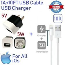 1A 5W USB Wall charger Cube W/ 10ft USB cable for iphone 5,6,7,8,X,XR,XS,SE [ST3