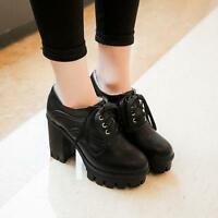 Womens Punk Gothic  Lace UP Block Heels Round Toe Oxford Brogue Platform Shoes@