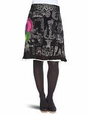 Desigual Jupe 16F2710 womens skirt Size M Black Midi 100% Cotton