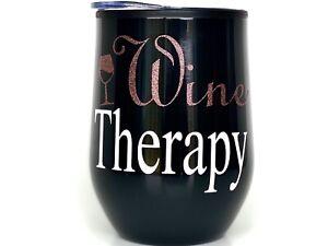 Custom 12oz Stemless Wine Tumbler/Coffee Travel Mug Glass Cup w/ Lid (Black)