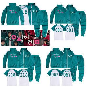 Squid Game Cosplay Kids Sports Jacket Sweatshirt Coat T-Shirt Trousers 3PCS Suit