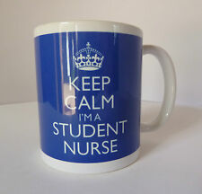 Keep Calm I'm A Student Nurse Gift Mug Cup In Carry On Style - Blue Nursing Mug