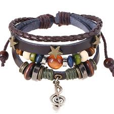 Hot Vintage Unisex Multilayer Leather Wrap Bracelet Alloy Stars Wristband Bangle