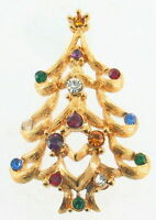 VINTAGE MONET RED GREEN BLUE PURPLE CLEAR RHINESTONE GOLD CHRISTMAS TREE PIN
