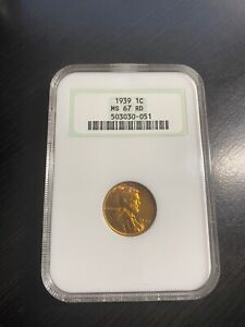 1939 1 Cent Wheat Penny / NGC MS67 RD