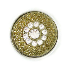Noosa Chunks Ginger Style Snap Button Charms Gold Weave White Rhinestones 20mm