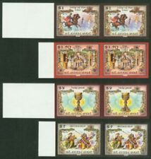 St. Vincent 1986 King Arthur $1-$5 imperf proof pairs-1