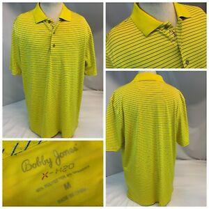 Bobby Jones X-H20 Golf Polo Shirt M Yellow Blue Stripe Poly LNWOT YGI E1-251