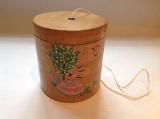 Vintage mid century wood string box, hand painted