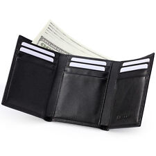 HISCOW Men's Trifold Wallet Italian Genuine Leather with 9 Credit Card Slots