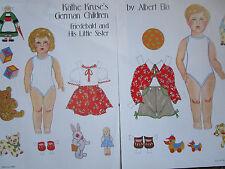 Vtg Kathe Kruse Children Friedebald & Sister Magazine Paper Doll Uncut