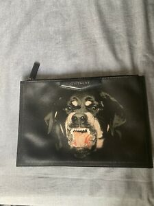 Authentic Givenchy Black Leather Rottweiler Clutch Retail 550$