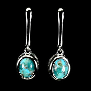 Unheated Oval Turquoise 8x6mm 14K White Gold Plate 925 Sterling Silver Earrings