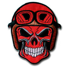 Red Skull Helmet Patch Iron on Chopper Biker Harley Badge Racing Club Rider MC