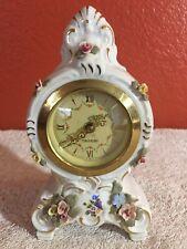 German Sandizell Bavaria Dresden Mercedes Porcelain Floral Mantel Shelf Clock