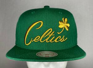 Mitchell and Ness NBA Boston Celtics HWC Gold Clover Snapback Hat, Cap, New