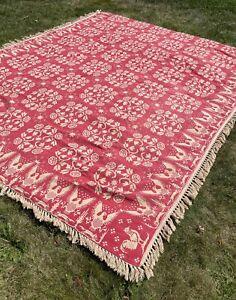 Vintage Bates Newport Eagle Cotton Bedspread Queen Colonial Reversible Historic