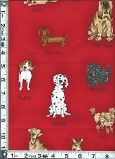 Fabric Kaufman Catberry Dogs Poodle Chihuahua Scottie dachshund red BTHY