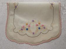 Vintage / Antique Tan Dresser Scarf / Table Runner Embroidered Flowers
