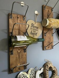 WINE RACK \ Rustic Wood \ Cast Iron \ Wall Mounted \ Reclaimed \ Home Bar