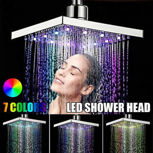 8'' Large Square Shower Head High Quality Chrome LED Colour Changing Bathroom