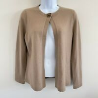 Anne Klein New York Women's 100% Cashmere Tan Cardigan Sweater Petite PP