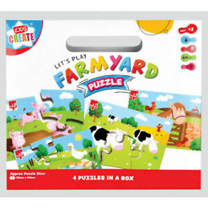 Farmyard Puzzles 4 In 1 - My First Jigsaw Kids Create Children Ages 3+ Gift Idea