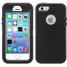 Black Shock Proof Armoured Hard Case Rubber Gel Skin Cover For iPhone 5 5S SE