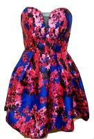 B.Darlin WOmen Size S Floral Strapless Sweetheart Party Cocktail Dress Zip.97