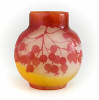 Galle Art Glass Pomegranate 2-Layer Vase c1910 Signed Cranberry on Soft Yellow