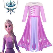 2019 New Release Girls Frozen 2 Elsa Costume Party Birthday Purple Dress 2-10Yrs