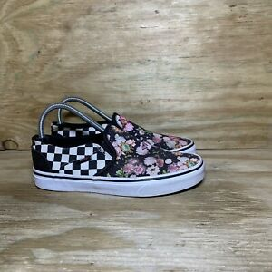 VANS Slip On Sneakers Women's Size 8 Floral Checkered Off The Wall Classic Shoes