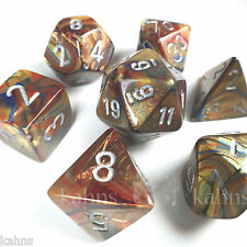 Chessex Dice Poly - Lustrous Gold w/ Silver - Set of 7 - 27493 Free Bag! DnD
