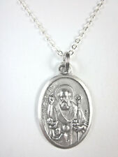 "Ladies St Nicholas with Children Medal Pendant Necklace 20"" Chain"