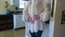 Rare Women's Christian Dior 100% Real Sheared Nutria & White Fox Fur Coat 1980's