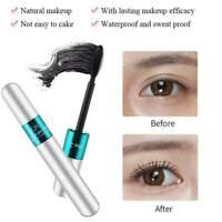 Waterproof 2-in-1 4D Silk Fiber Eyelash Mascara Extension Curling Makeup Black