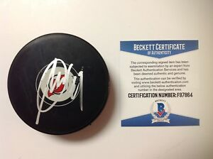Miles Wood Signed Autographed New Jersey Devils Hockey Puck Beckett BAS COA d
