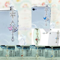3.5mm Butterfly Crystal Anti Dust Earphone Plug Cap Stopper For Samsung iPhone 6