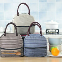Portable Stripe Lunch Bag Thermal Canvas Food Container Tote Handbag Lunch Box