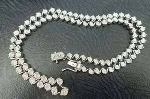 STERLING SILVER NATURAL DIAMOND ARTICULATED TENNIS NECKLACE WHITE GOLD PLATED