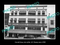 OLD LARGE HISTORIC PHOTO OF CARROLL IOWA, VIEW OF THE JC PENNEY STORE c1950