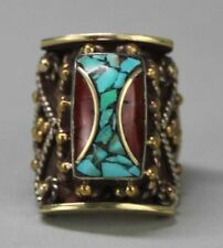 Tibetan Nepal Handcrafted Turquoise & Carnelian Ring Size 9.5 USA SELLER