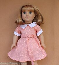Doll Clothes fitting 18 in American Girl 1930s Orange Feedsack Dress w Collar